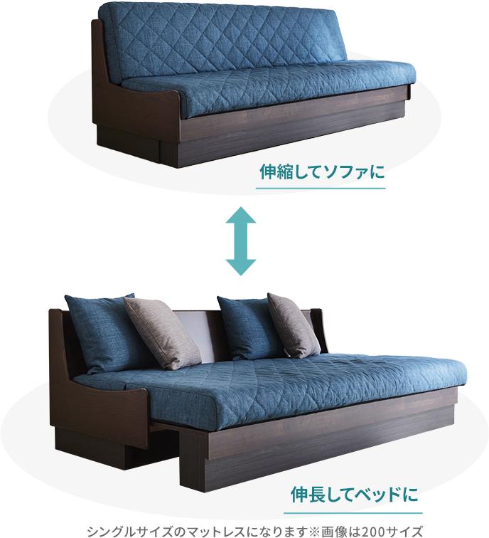 簡単にソファにもベッドにも切り替えできる