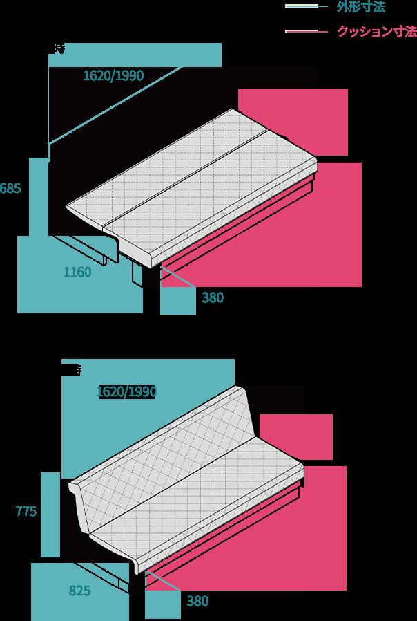 高さ、奥行きは共通サイズです